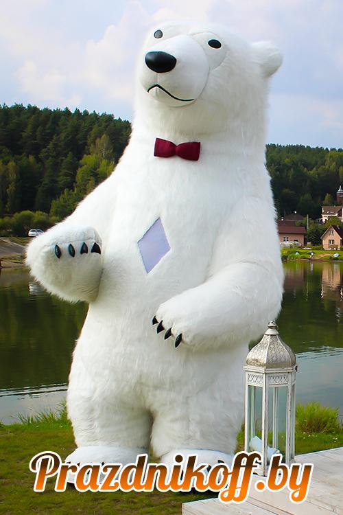 Аниматор большой белый медведь ростовая кукла