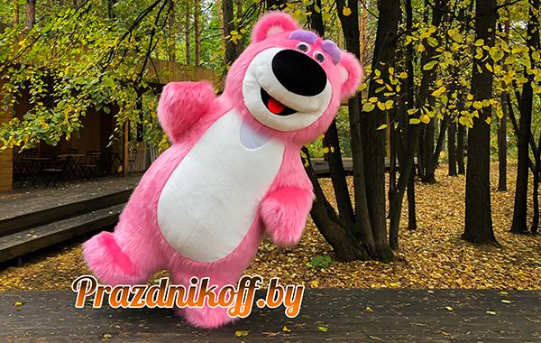 Аниматор в ростовой кукле розовый медведь