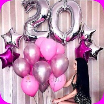 Розовые шарики и цифра фольга нолик двадцать