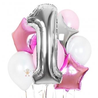 Цифра один и бело розовые шары с гелием