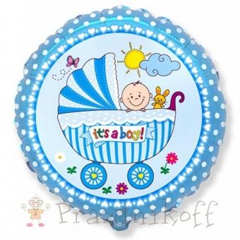 """Шар Круг """"Детская коляска для мальчика"""" голубой"""