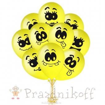 """Набор шаров с гелием """"Смайл"""" желтого цвета"""