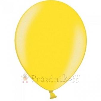 """Шар латексный """"Веселый праздник"""" Желтый, металлик"""