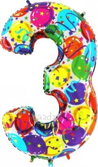 """Шар Grabo цифра фольгированная - Три """"3"""" Воздушные шары, боровляны"""