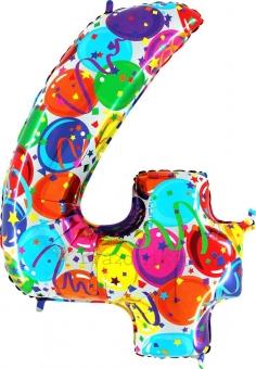 """Шар Grabo цифра фольгированная - Четыре """"4"""" Воздушные шары, новая боровая"""