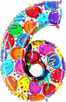 """Шар Grabo цифра фольгированная - Шесть """"6"""" Воздушные шары, восток"""