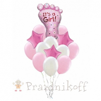 Набор шаров для встречи из роддома, девочка
