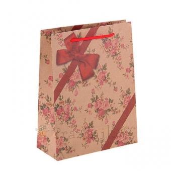 """Подарочный пакет крафт """"Бант""""."""
