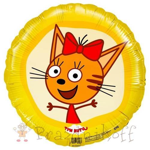 Фольгированный Шар круг Три кота Карамелька